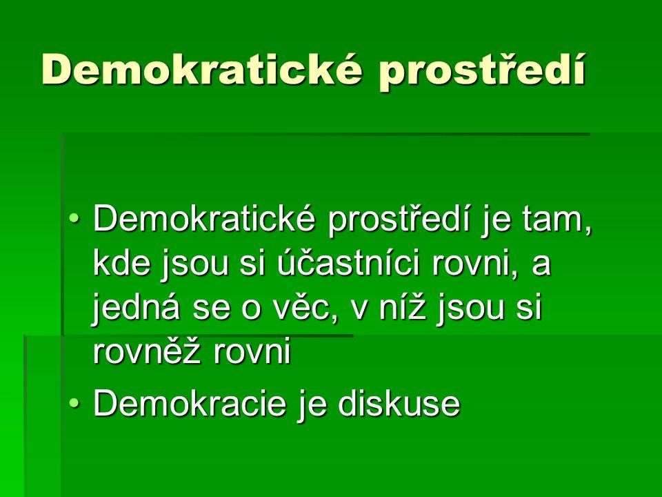 Demokratické prostředí Demokratické prostředí je tam, kde jsou si účastníci rovni, a jedná se o věc, v níž jsou si rovněž rovniDemokratické prostředí je tam, kde jsou si účastníci rovni, a jedná se o věc, v níž jsou si rovněž rovni Demokracie je diskuseDemokracie je diskuse