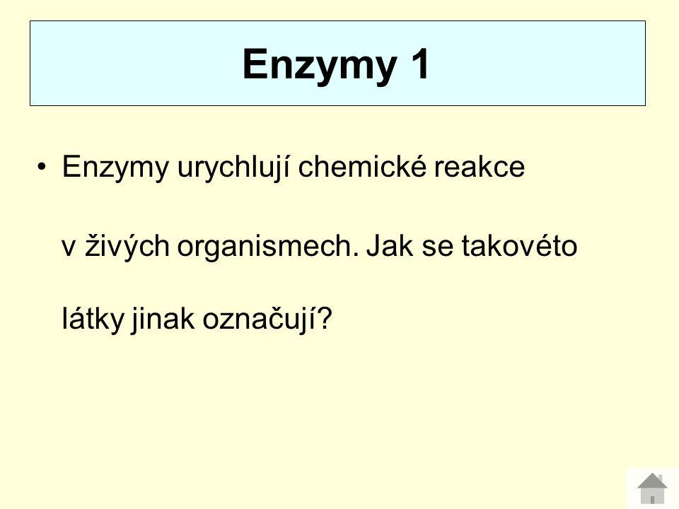 Enzymy urychlují chemické reakce v živých organismech. Jak se takovéto látky jinak označují? Enzymy 1