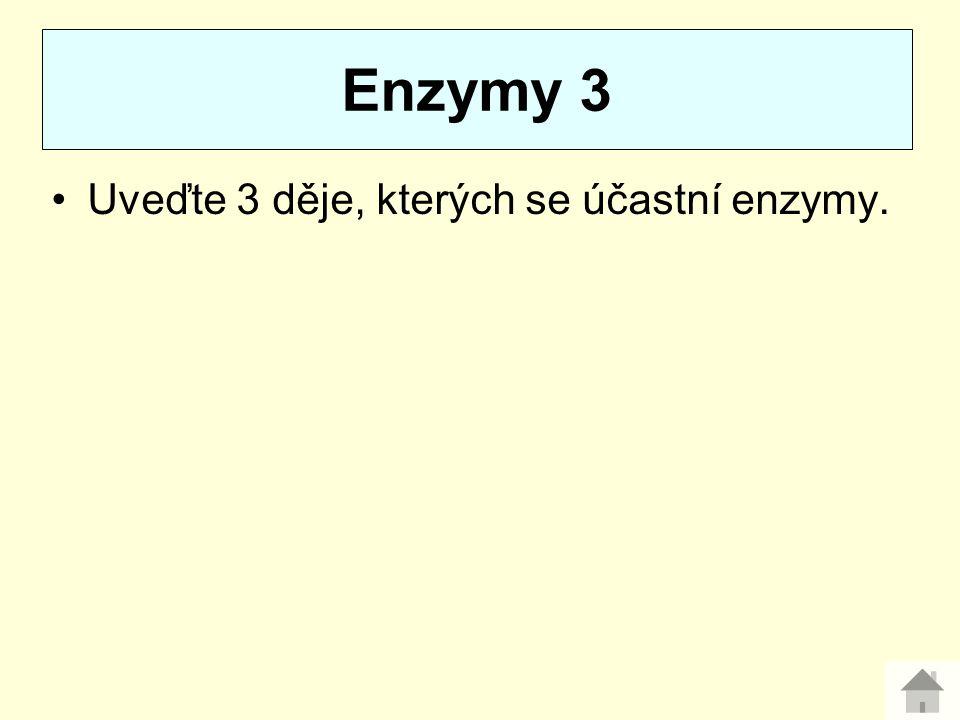Uveďte 3 děje, kterých se účastní enzymy. Enzymy 3