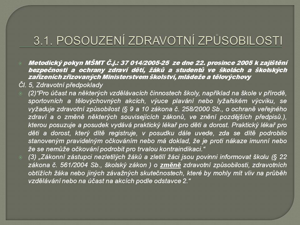  Metodický pokyn MŠMT Č.j.: 37 014/2005-25 ze dne 22. prosince 2005 k zajištění bezpečnosti a ochrany zdraví dětí, žáků a studentů ve školách a škols