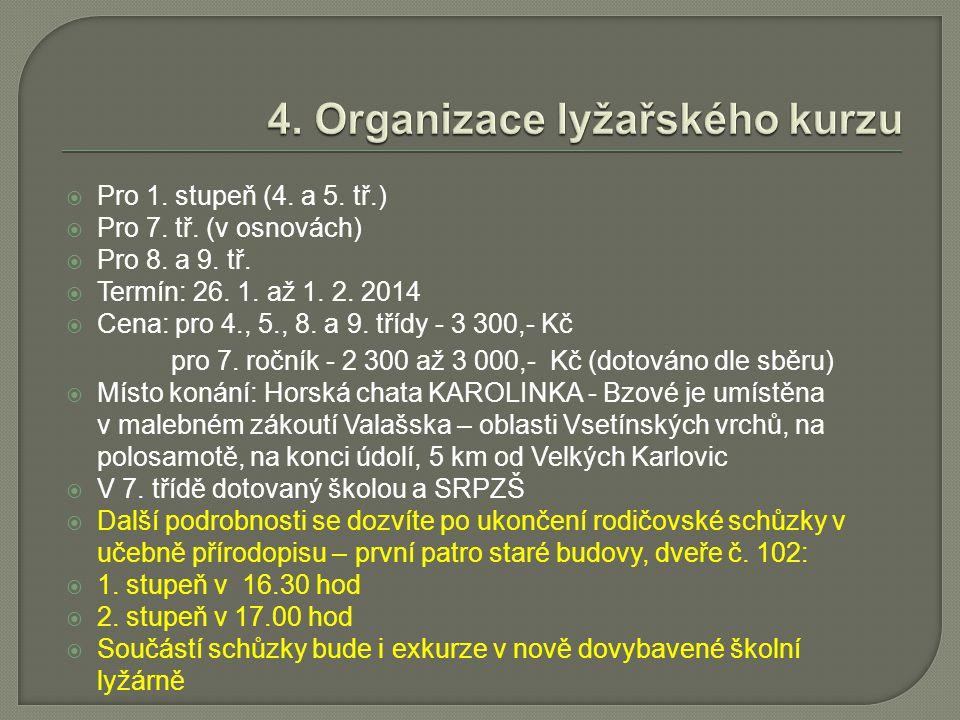  Pro 1. stupeň (4. a 5. tř.)  Pro 7. tř. (v osnovách)  Pro 8. a 9. tř.  Termín: 26. 1. až 1. 2. 2014  Cena: pro 4., 5., 8. a 9. třídy - 3 300,- K