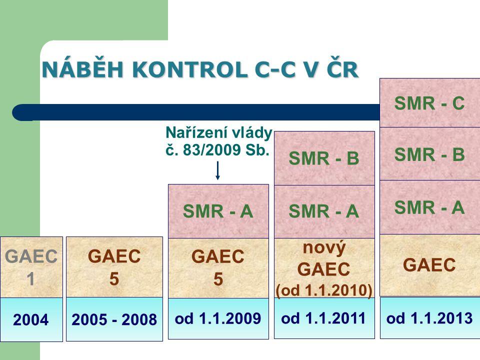 od 1.1.2011 od 1.1.2009 2005 - 2008 2004 GAEC 1 GAEC 5 GAEC 5 nový GAEC (od 1.1.2010) SMR - A SMR - C SMR - B NÁBĚH KONTROL C-C V ČR od 1.1.2013 GAEC SMR - B SMR - A Nařízení vlády č.