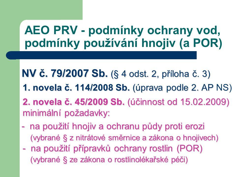 AEO PRV - podmínky ochrany vod, podmínky používání hnojiv (a POR) NV č. 79/2007 Sb. (§ 4 odst. 2, příloha č. 3) 1. novela č. 114/2008 Sb. (úprava podl