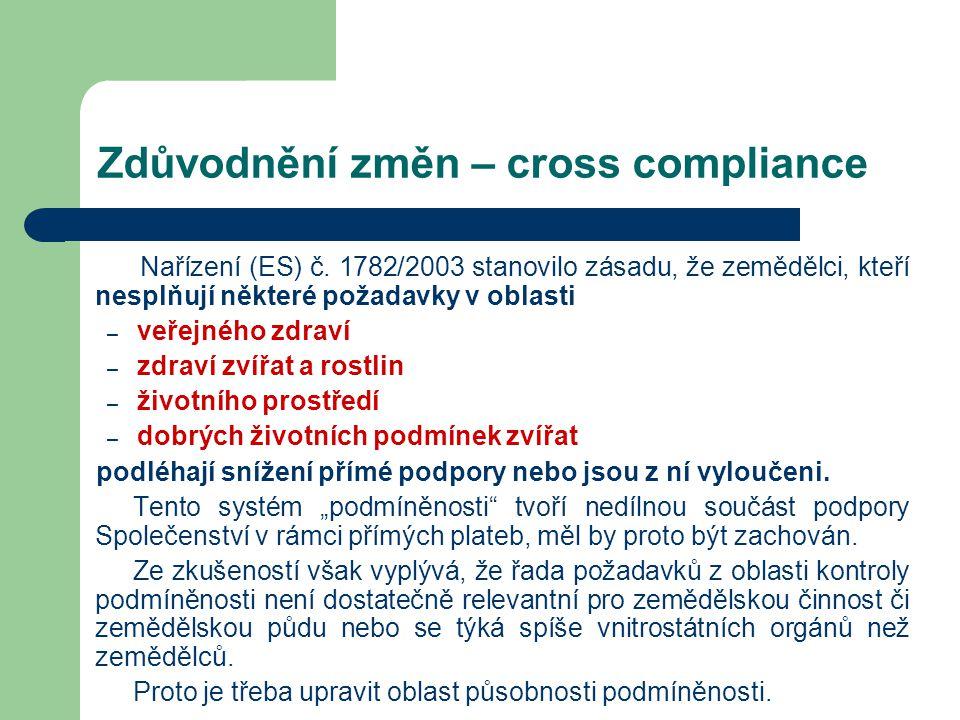Zdůvodnění změn – cross compliance Nařízení (ES) č. 1782/2003 stanovilo zásadu, že zemědělci, kteří nesplňují některé požadavky v oblasti – veřejného