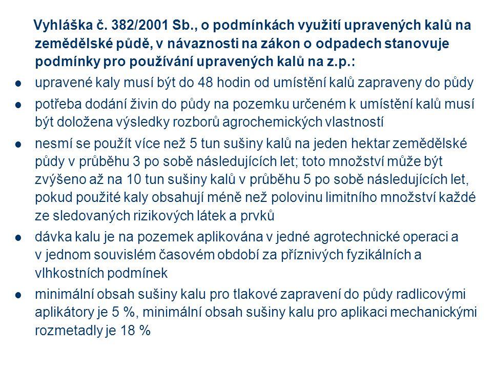 Vyhláška č. 382/2001 Sb., o podmínkách využití upravených kalů na zemědělské půdě, v návaznosti na zákon o odpadech stanovuje podmínky pro používání u
