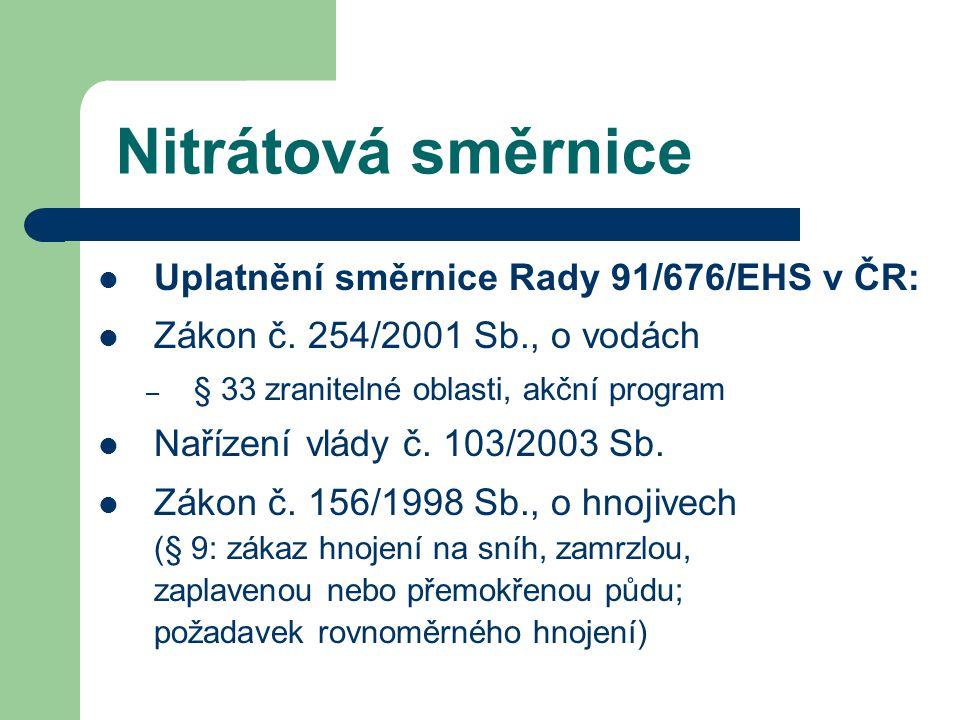 Nitrátová směrnice Uplatnění směrnice Rady 91/676/EHS v ČR: Zákon č. 254/2001 Sb., o vodách – § 33 zranitelné oblasti, akční program Nařízení vlády č.