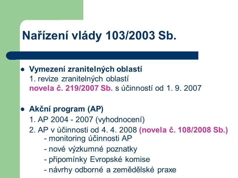 Nařízení vlády 103/2003 Sb. Vymezení zranitelných oblastí 1. revize zranitelných oblastí novela č. 219/2007 Sb. s účinností od 1. 9. 2007 Akční progra
