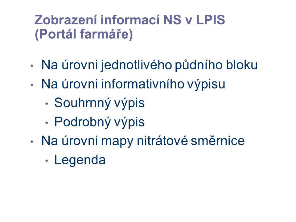 Zobrazení informací NS v LPIS (Portál farmáře) Na úrovni jednotlivého půdního bloku Na úrovni informativního výpisu Souhrnný výpis Podrobný výpis Na úrovni mapy nitrátové směrnice Legenda