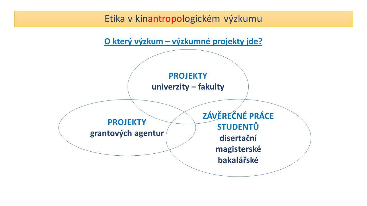 Etika v kinantropologickém výzkumu O který výzkum – výzkumné projekty jde? PROJEKTY grantových agentur PROJEKTY univerzity – fakulty ZÁVĚREČNÉ PRÁCE S