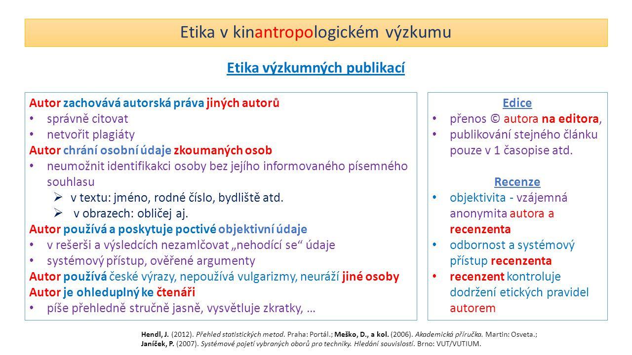 Etika v kinantropologickém výzkumu Etika výzkumných publikací Autor zachovává autorská práva jiných autorů správně citovat netvořit plagiáty Autor chr
