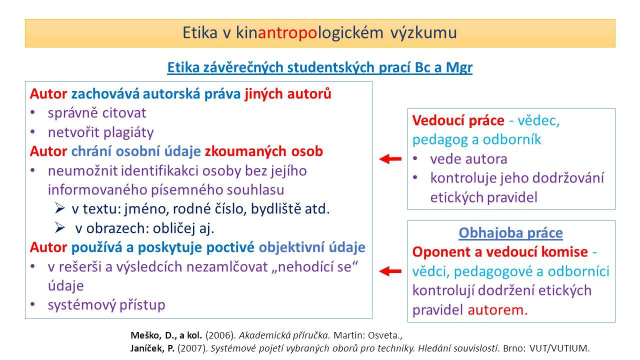 Etika v kinantropologickém výzkumu Etika závěrečných studentských prací Bc a Mgr Autor zachovává autorská práva jiných autorů správně citovat netvořit