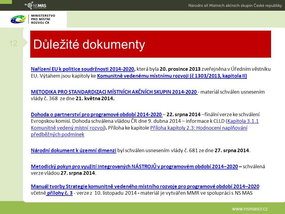 Důležité dokumenty Nařízení EU k politice soudržnosti 2014-2020Nařízení EU k politice soudržnosti 2014-2020, která byla 20.