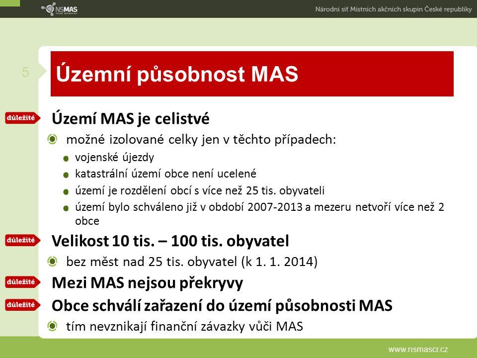 Územní působnost MAS Území MAS je celistvé možné izolované celky jen v těchto případech: vojenské újezdy katastrální území obce není ucelené území je rozdělení obcí s více než 25 tis.