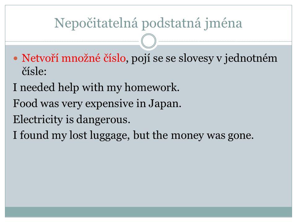 Nepočitatelná podstatná jména Netvoří množné číslo, pojí se se slovesy v jednotném čísle: I needed help with my homework. Food was very expensive in J