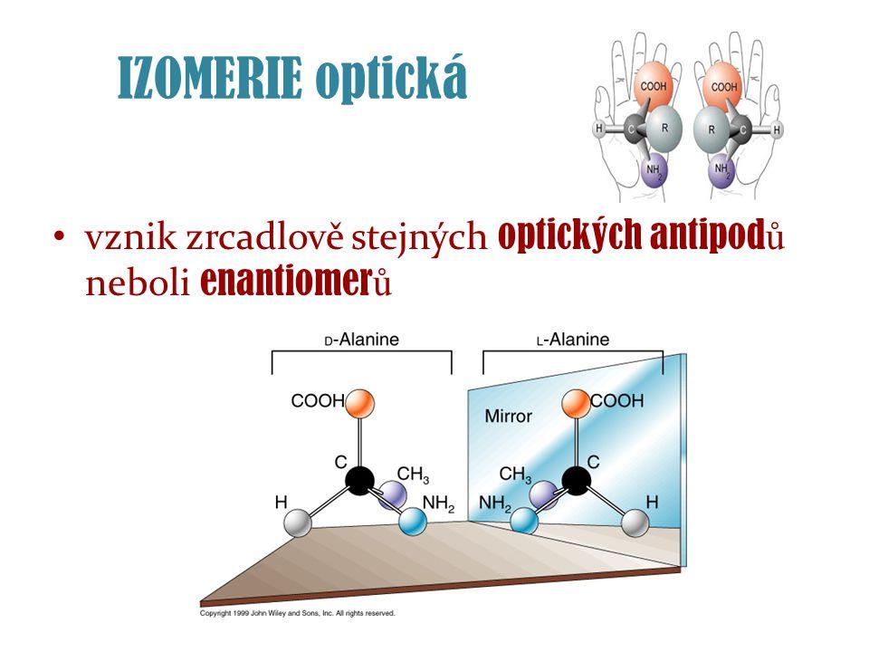 IZOMERIE optická vznik zrcadlově stejných optických antipod ů neboli enantiomer ů