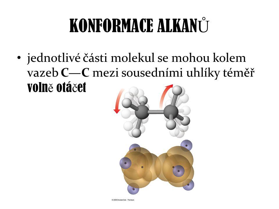 KONFORMACE ALKAN Ů jednotlivé části molekul se mohou kolem vazeb C—C mezi sousedními uhlíky téměř voln ě otá č et