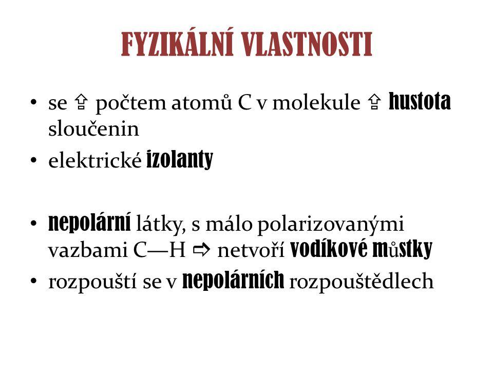 FYZIKÁLNÍ VLASTNOSTI se  počtem atomů C v molekule  hustota sloučenin elektrické izolanty nepolární látky, s málo polarizovanými vazbami C—H  netvo