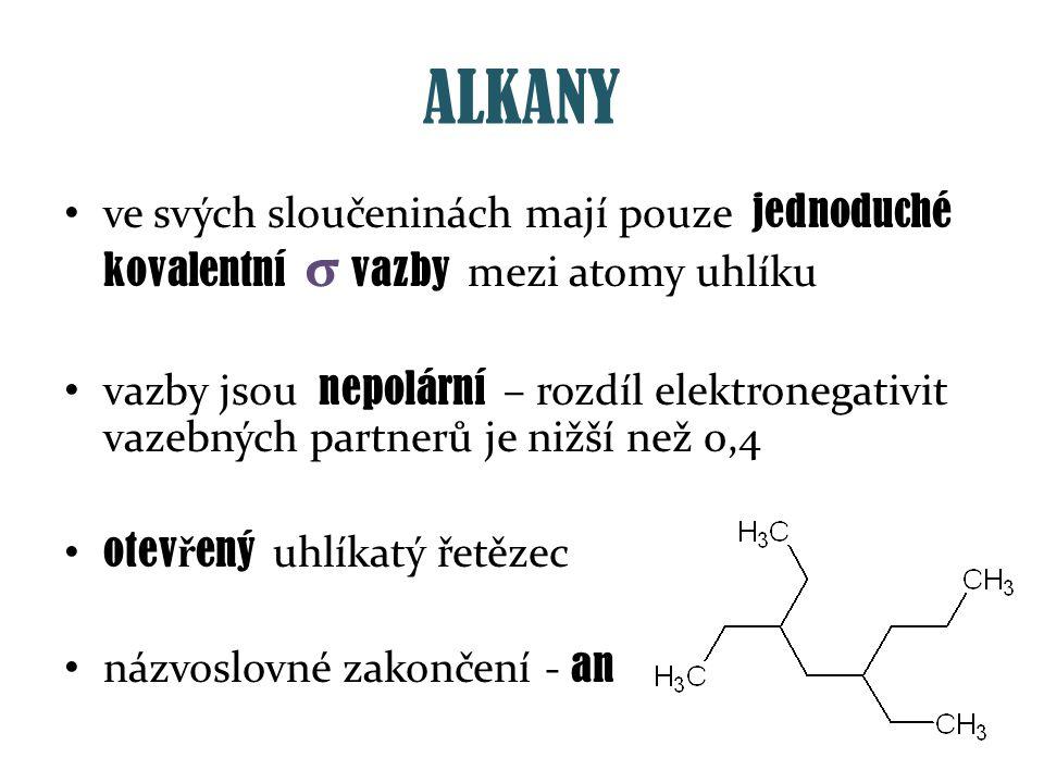 ALKANY ve svých sloučeninách mají pouze jednoduché kovalentní σ vazby mezi atomy uhlíku vazby jsou nepolární – rozdíl elektronegativit vazebných partn