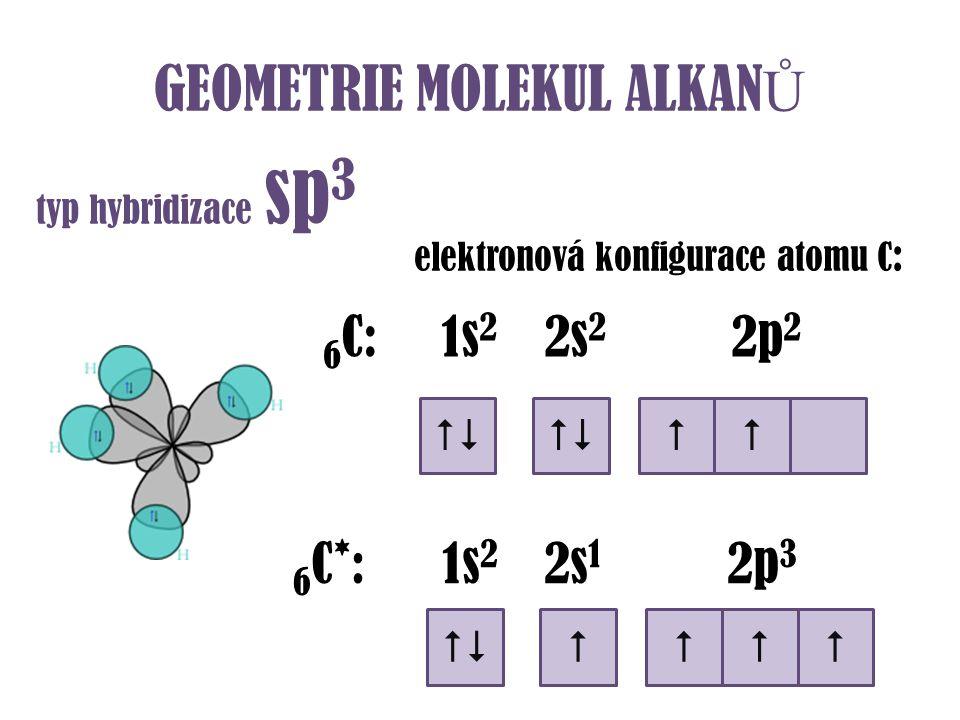 GEOMETRIE MOLEKUL ALKAN Ů typ hybridizace sp 3 elektronová konfigurace atomu C : 6 C: 1s 2 2s 2 2p 2  6 C * : 1s 2 2s 1 2p 3  