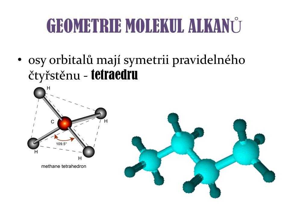 GEOMETRIE MOLEKUL ALKAN Ů osy orbitalů mají symetrii pravidelného čtyřstěnu - tetraedru