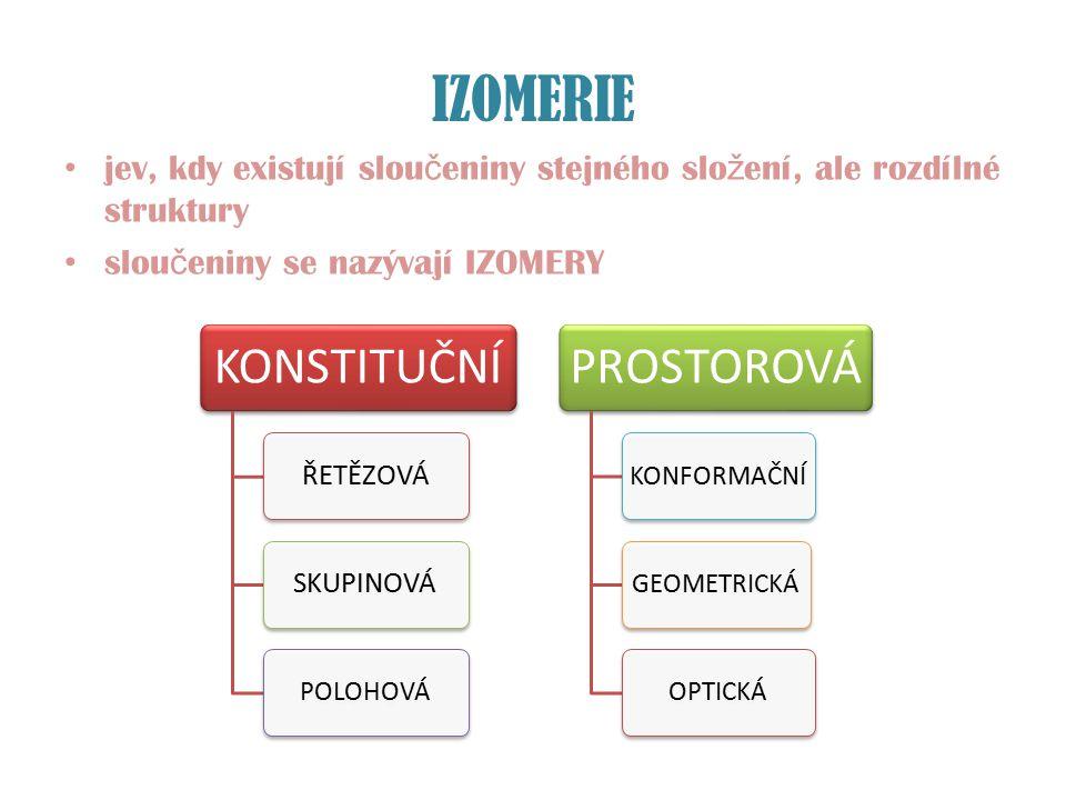 IZOMERIE jev, kdy existují slou č eniny stejného slo ž ení, ale rozdílné struktury slou č eniny se nazývají IZOMERY KONSTITUČNÍ ŘETĚZOVÁSKUPINOVÁ POLO