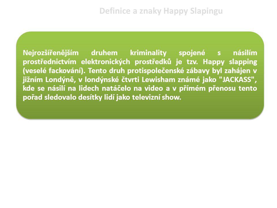 Definice a znaky Happy Slapingu Nejrozšířenějším druhem kriminality spojené s násilím prostřednictvím elektronických prostředků je tzv. Happy slapping