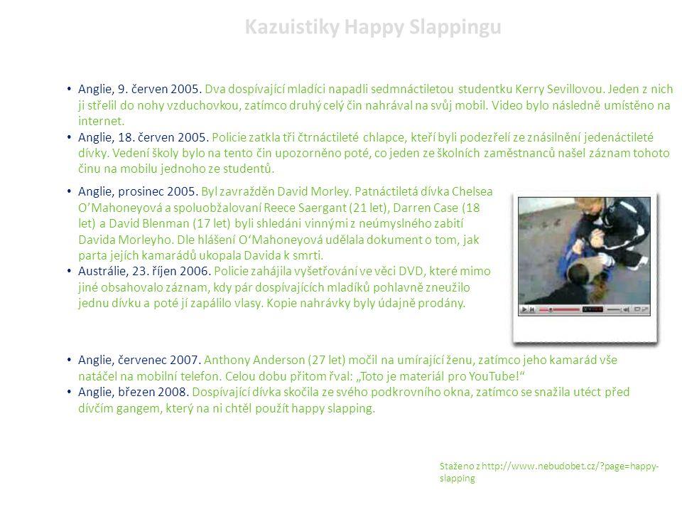 Kazuistiky Happy Slappingu Anglie, 9. červen 2005. Dva dospívající mladíci napadli sedmnáctiletou studentku Kerry Sevillovou. Jeden z nich ji střelil