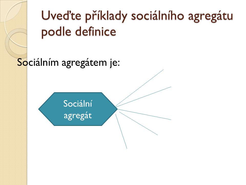 Uveďte příklady sociálního agregátu podle definice Sociálním agregátem je: Sociální agregát