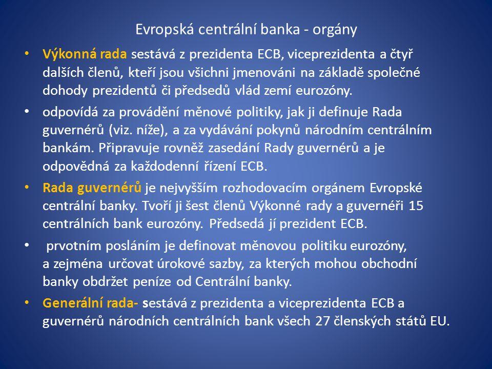 Evropská centrální banka - orgány Výkonná rada sestává z prezidenta ECB, viceprezidenta a čtyř dalších členů, kteří jsou všichni jmenováni na základě společné dohody prezidentů či předsedů vlád zemí eurozóny.