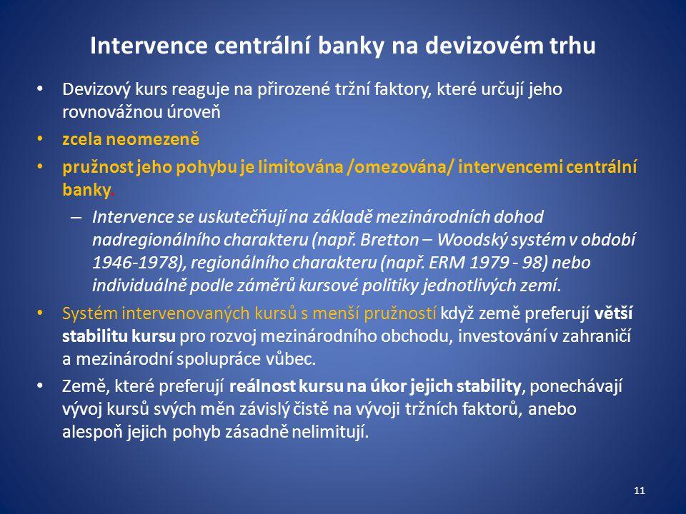 Intervence centrální banky na devizovém trhu Devizový kurs reaguje na přirozené tržní faktory, které určují jeho rovnovážnou úroveň zcela neomezeně pružnost jeho pohybu je limitována /omezována/ intervencemi centrální banky.