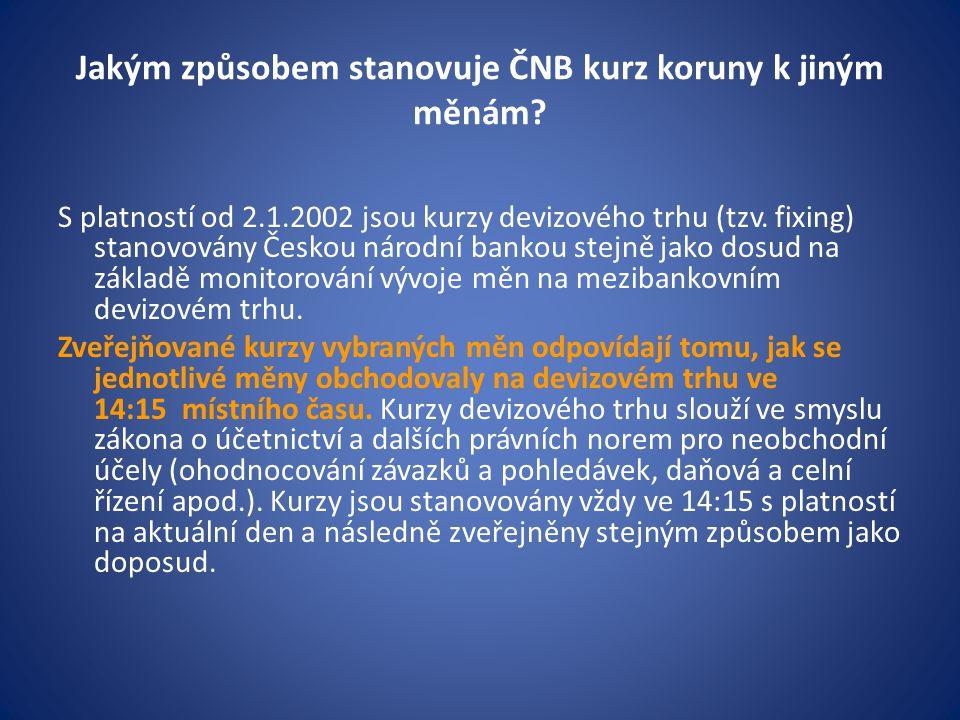 Jakým způsobem stanovuje ČNB kurz koruny k jiným měnám.