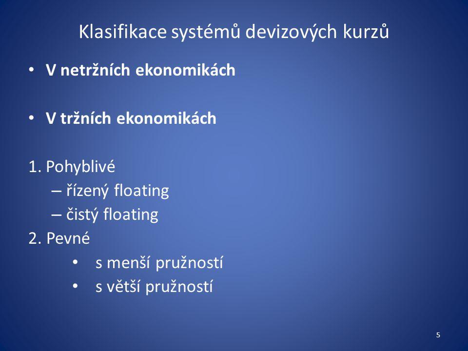 Klasifikace systémů devizových kurzů V netržních ekonomikách V tržních ekonomikách 1.Pohyblivé – řízený floating – čistý floating 2.