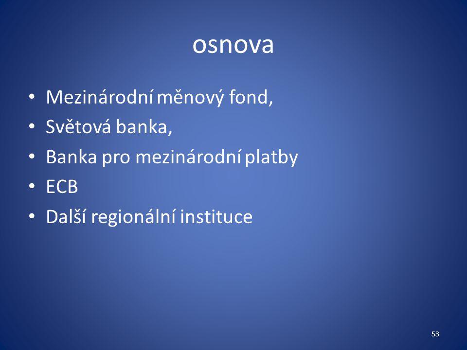 osnova Mezinárodní měnový fond, Světová banka, Banka pro mezinárodní platby ECB Další regionální instituce 53