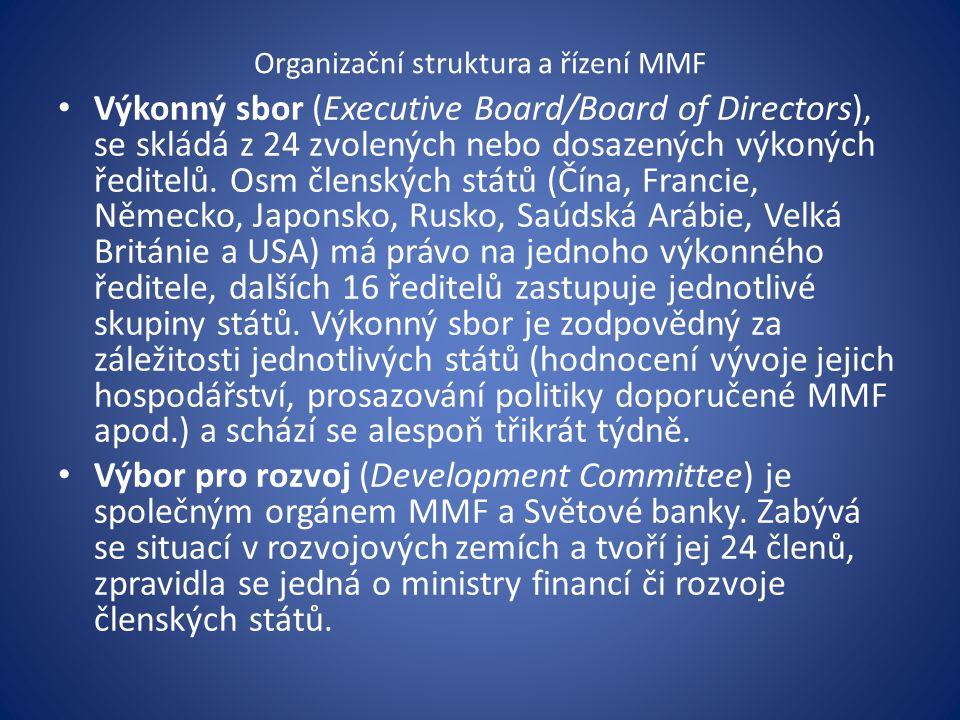 Organizační struktura a řízení MMF Výkonný sbor (Executive Board/Board of Directors), se skládá z 24 zvolených nebo dosazených výkoných ředitelů.