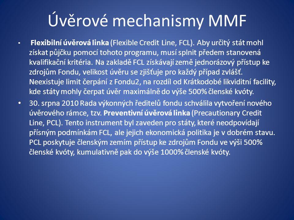 Úvěrové mechanismy MMF Flexibilní úvěrová linka (Flexible Credit Line, FCL).