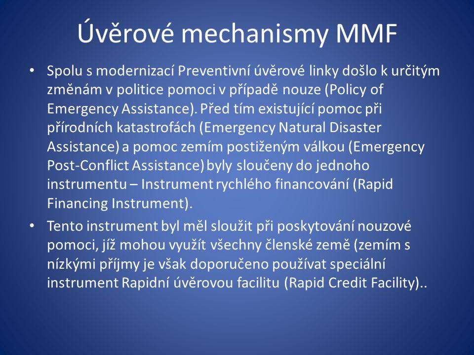 Úvěrové mechanismy MMF Spolu s modernizací Preventivní úvěrové linky došlo k určitým změnám v politice pomoci v případě nouze (Policy of Emergency Assistance).