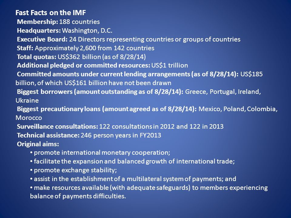 Fast Facts on the IMF Membership: 188 countries Headquarters: Washington, D.C. Executive Board: 24 Directors representing countries or groups of count