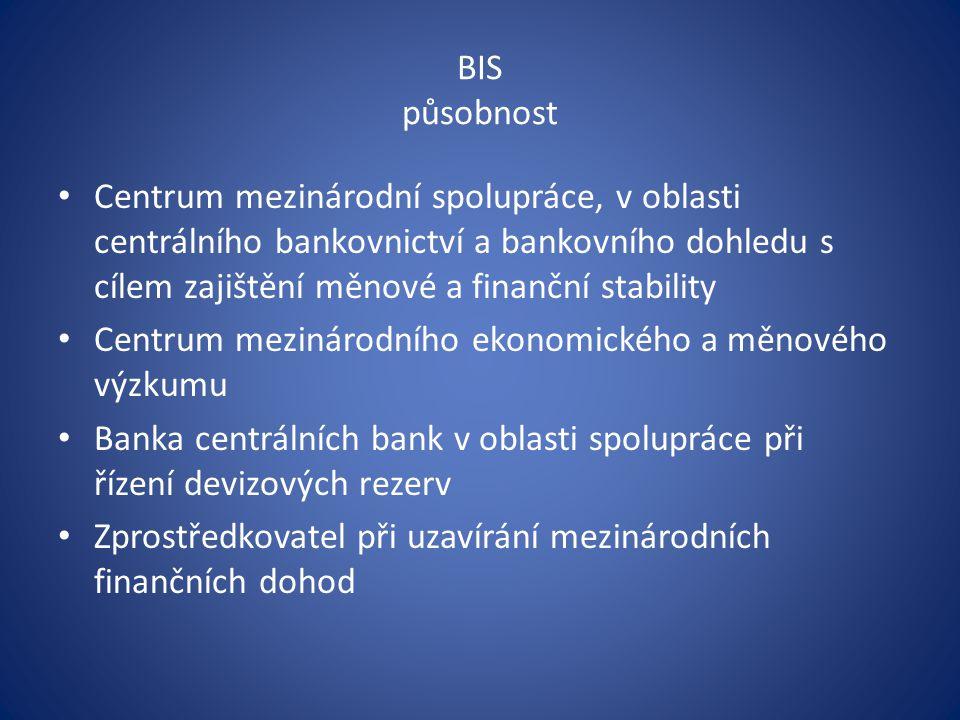 BIS působnost Centrum mezinárodní spolupráce, v oblasti centrálního bankovnictví a bankovního dohledu s cílem zajištění měnové a finanční stability Centrum mezinárodního ekonomického a měnového výzkumu Banka centrálních bank v oblasti spolupráce při řízení devizových rezerv Zprostředkovatel při uzavírání mezinárodních finančních dohod