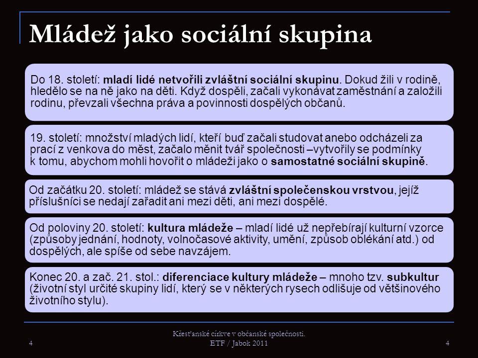 4 Křesťanské církve v občanské společnosti. ETF / Jabok 2011 4 Mládež jako sociální skupina Do 18. století: mladí lidé netvořili zvláštní sociální sku
