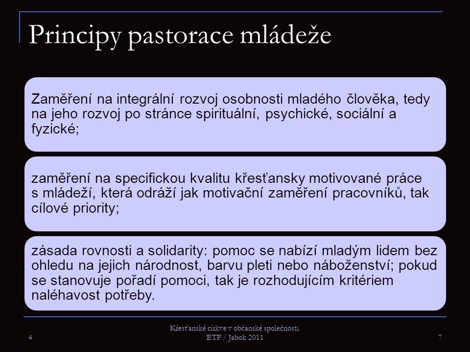 Principy pastorace mládeže Zaměření na integrální rozvoj osobnosti mladého člověka, tedy na jeho rozvoj po stránce spirituální, psychické, sociální a