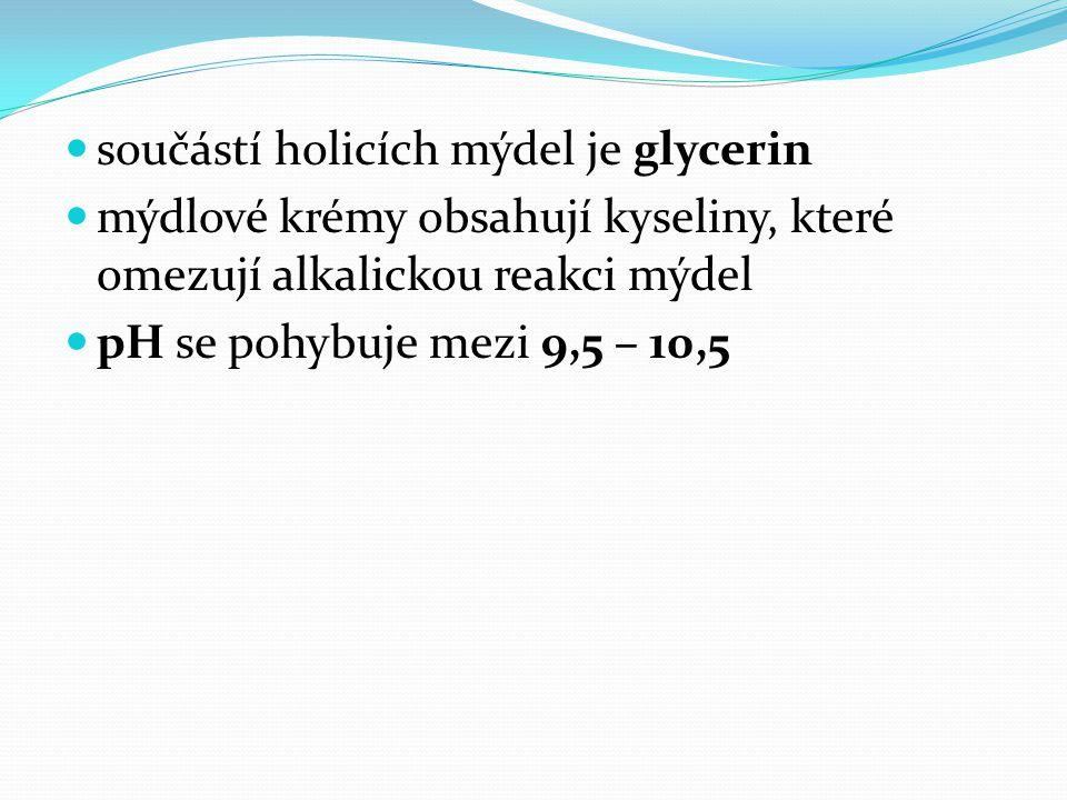 součástí holicích mýdel je glycerin mýdlové krémy obsahují kyseliny, které omezují alkalickou reakci mýdel pH se pohybuje mezi 9,5 – 10,5