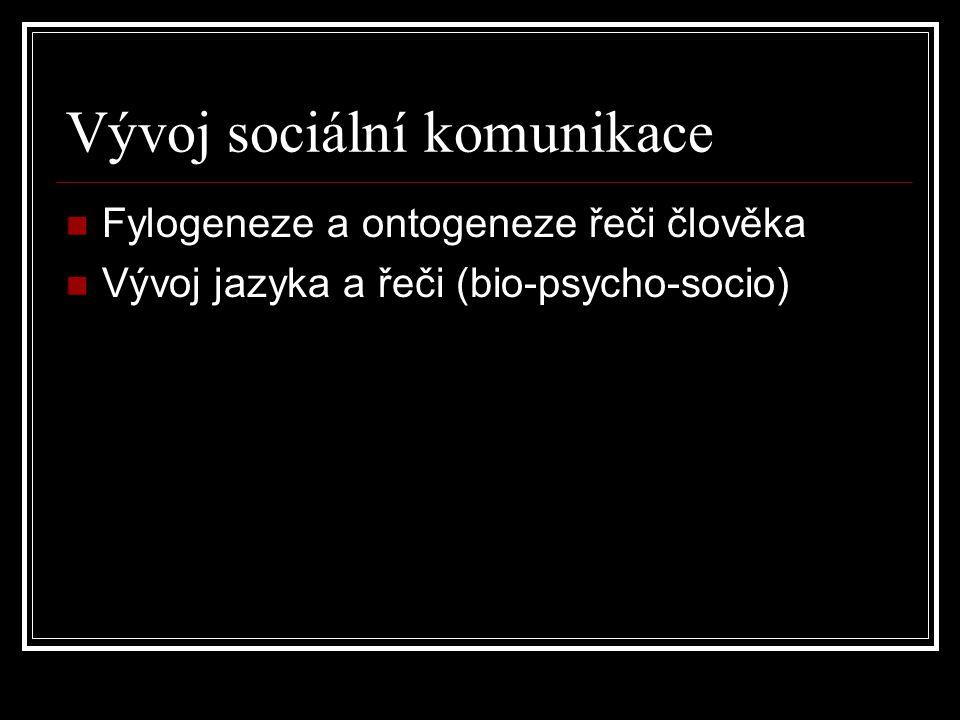 Vývoj sociální komunikace Fylogeneze a ontogeneze řeči člověka Vývoj jazyka a řeči (bio-psycho-socio)