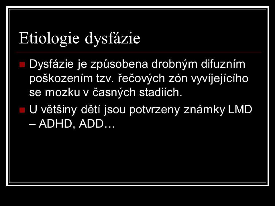Etiologie dysfázie Dysfázie je způsobena drobným difuzním poškozením tzv. řečových zón vyvíjejícího se mozku v časných stadiích. U většiny dětí jsou p