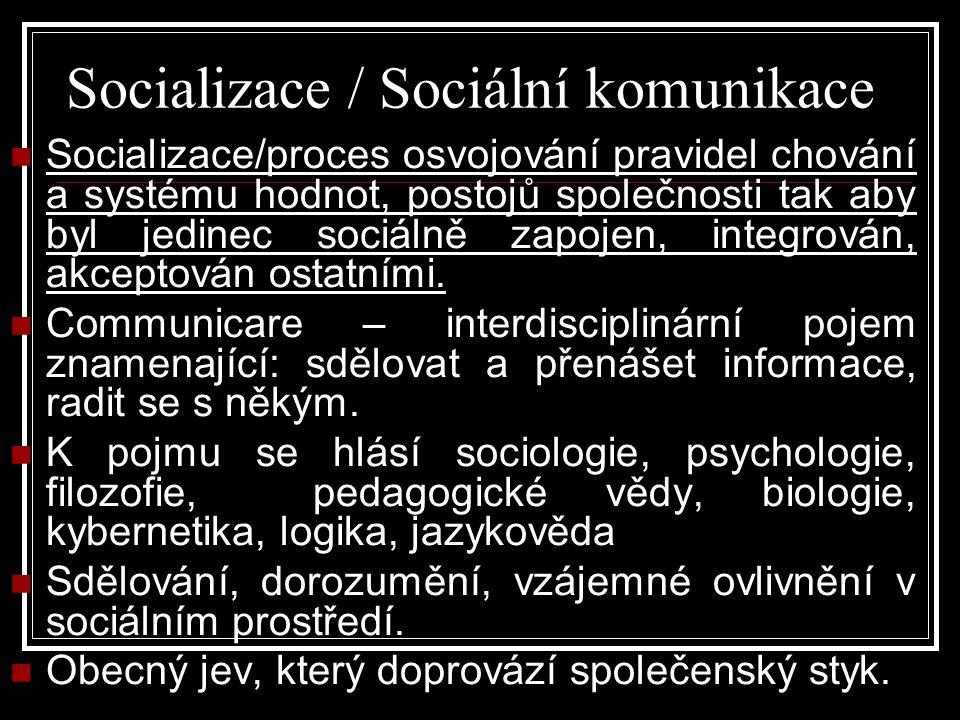 Socializace / Sociální komunikace Socializace/proces osvojování pravidel chování a systému hodnot, postojů společnosti tak aby byl jedinec sociálně zapojen, integrován, akceptován ostatními.