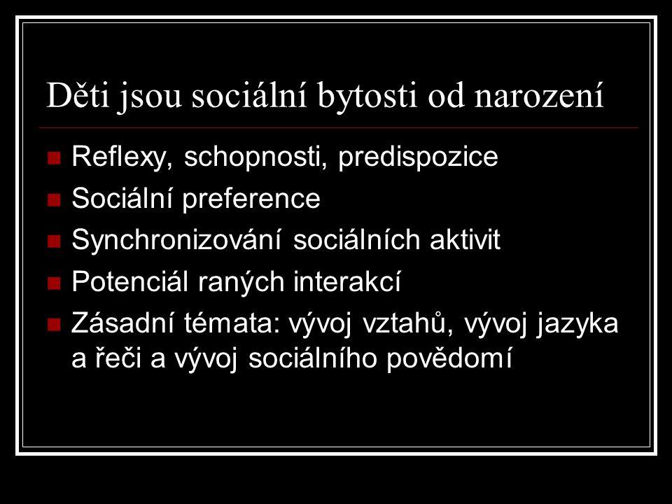 Děti jsou sociální bytosti od narození Reflexy, schopnosti, predispozice Sociální preference Synchronizování sociálních aktivit Potenciál raných inter