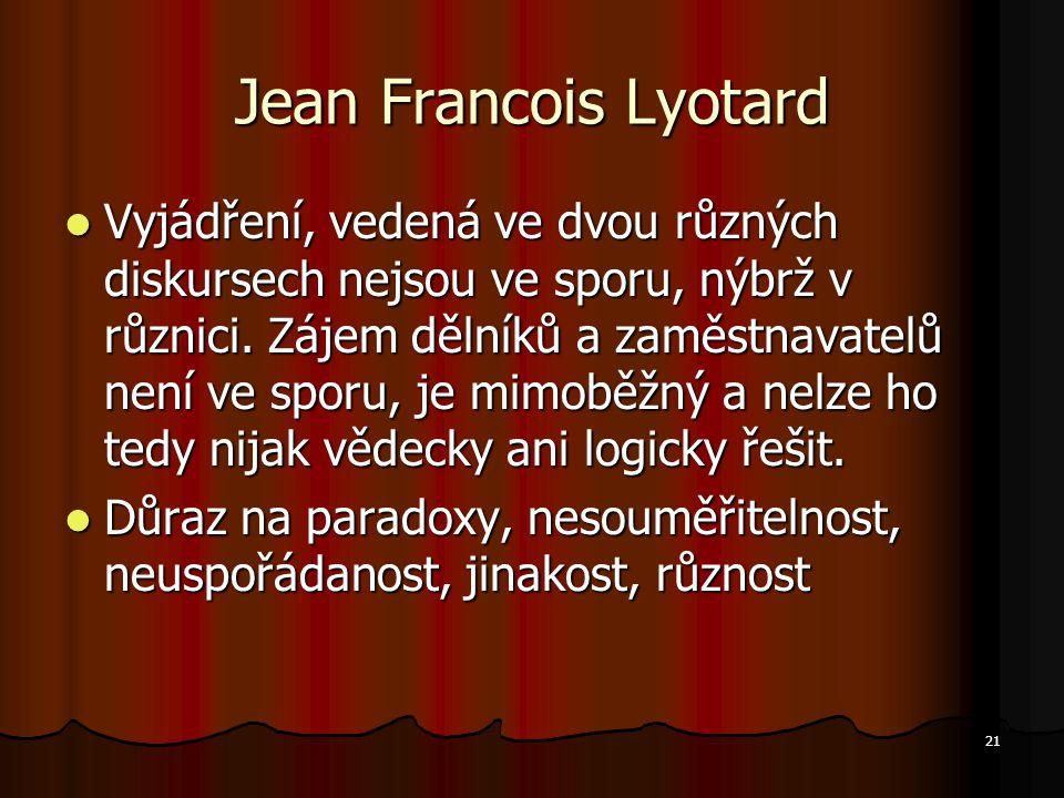 21 Jean Francois Lyotard Vyjádření, vedená ve dvou různých diskursech nejsou ve sporu, nýbrž v různici.