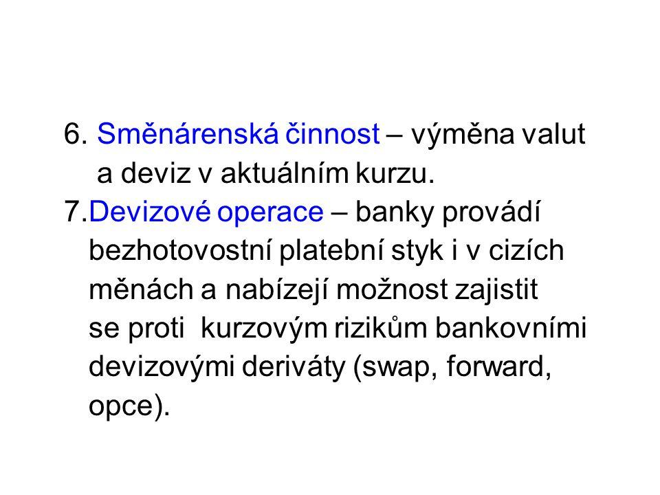 6. Směnárenská činnost – výměna valut a deviz v aktuálním kurzu.