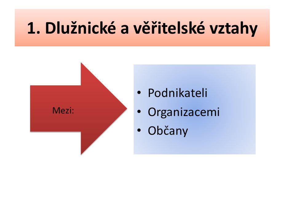 1. Dlužnické a věřitelské vztahy Podnikateli Organizacemi Občany Mezi: