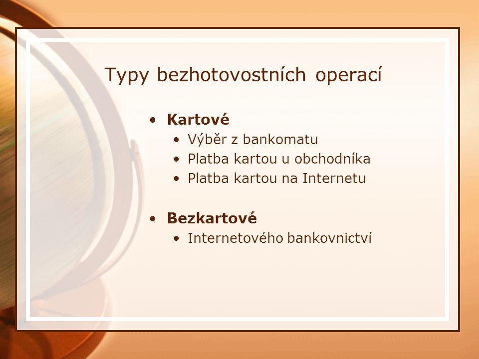 Typy bezhotovostních operací Kartové Výběr z bankomatu Platba kartou u obchodníka Platba kartou na Internetu Bezkartové Internetového bankovnictví