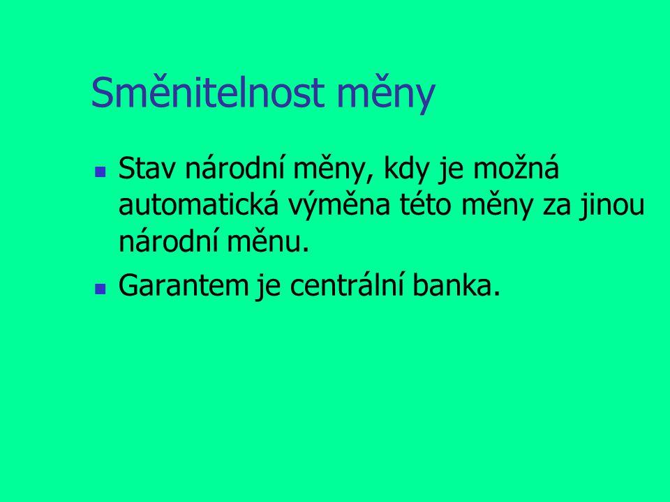 Směnitelnost měny Stav národní měny, kdy je možná automatická výměna této měny za jinou národní měnu. Garantem je centrální banka.